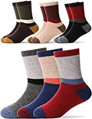 Kids Wool Socks 6 Pairs Toddlers Boys Girls Child Warm Winter Thick Thermal Cabin Boot Snow Socks