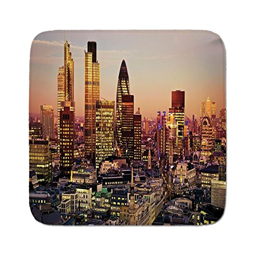 Cozy Seat Protector Pads Cushion Area Rug,New York Decor,Global City Sunset with Light Reflecting on Skyscrapers Famous Town Landmark View,Multi,Easy to Use on Any ()
