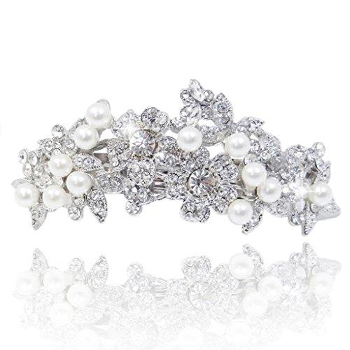 EVER FAITH Bridal Silver-Tone Flower Simulated Pearl Hair Barrette Clear Austrian Crystsal
