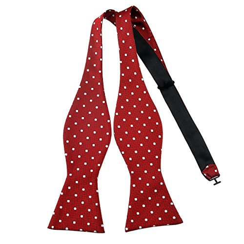 Pensee Mens Self Bow Tie Red and White Polka Dot Jacquard Woven Silk Bow Ties