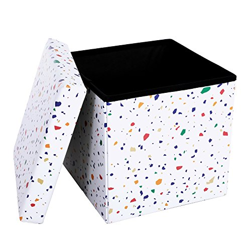 "SONGMICS 15"" x 15"" x 15"" Folding Storage Ottoman Cube/Footrest Stool/Coffee Table/Puppy Step, Holds Up to 660lbs, Faux Leather, Terrazzo Pattern, ULSF30C"