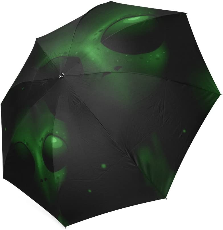 Beautytool Custom Personalized Green Aliens Face Foldable Sun Rain Travel Umbrella