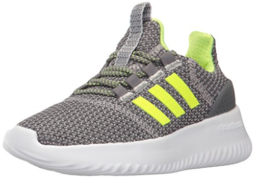 adidas Neo Girl's Cloudfoam Ultimate Sneaker, Grey/Slime Yellow, Size 3.5 US