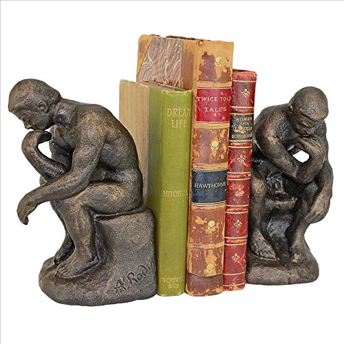 (Design Toscano Rodin's Thinker Cast Iron Sculptural Bookend Pair, Bronze)