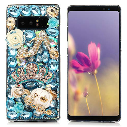 - Note 8 Case,Mavis's Diary Luxury 3D Handmade Bling Crystal Rhinestone Full Diamonds Floral Pumpkin Cart Crown Hard PC Plastic Clear Protective Cover for Samsung Galaxy Note 8