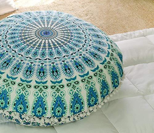 Popular Handicrafts Kp835 Large Hippie Mandala Floor Pillow Cover - Cushion Cover - Pouf Cover Round Bohemian Yoga Decor Floor Cushion Case- 32 White Teal Green