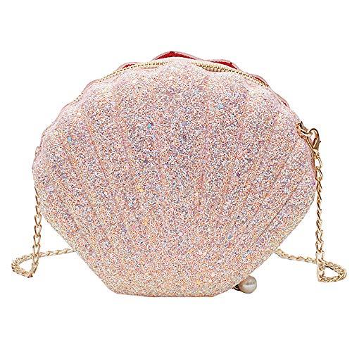 Felice Women Girls Little Mermaid Seashell Purse Cross-body Shoulder Bags Glitter Sequins Chain Evening Purse (Ladies Shell Shaped Handbags)
