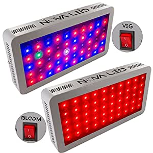 NOVA N300s LED Grow Light Panel for Indoor Plants - Control Switch, Dual Spectrum - 300W 12 Band Full Spectrum Lamp for Indoor Growing - Consumes Less Heat & Less Energy - 5 Year Warranty - US Company