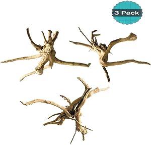 Hamiledyi Driftwood for Aquarium Reptiles Wood Branches Natural Trunk Driftwood Tree Fish Tank Decoration 3 PCS
