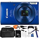 Canon PowerShot ELPH 190 IS Digital Camera (Blue) - International Version (No Warranty) 32GB Bundle 15PC Accessory Kit Which Includes Replacement NB-11L Battery, 12 Flexible Tripod, MORE