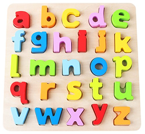 Babe Rock Wooden Alphabet Learning Puzzle Educational Learning Toys Wood ABC Peg Letters Puzzle Colorful Jigsaw Blocks Board for Toddler Kids Boy Girl