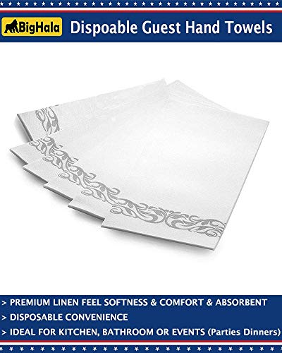 KJB Products Pack of 50 White Paper Airlaid Disposable Paper Hand Towels 8 Fold