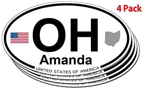 (Amanda, Ohio Oval Sticker - 4 pack )