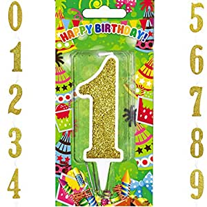 Birthday Candles Big Number Gold Candle Cake Topper Decoration Numeral First Birthday Candle (Gold, Number 1)