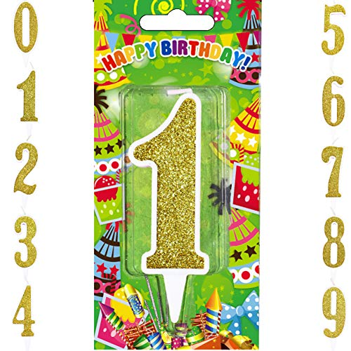 (Agens Big Birthday Candles Numbers, Gold Glitter Birthday Numeral Candles for Birthdays, Weddings, Reunions, Theme Party (Gold, Number 1))