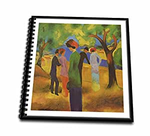 Florene Famous Art - 1913 German Painter August Macke Lady In Green - Drawing Book 8 x 8 inch (db_61985_1)