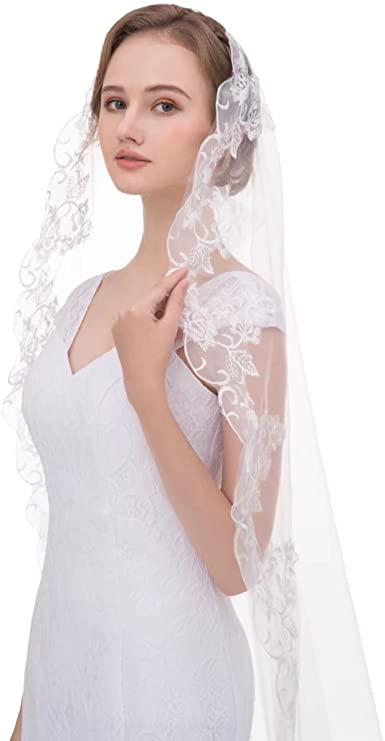 Wedding Bridal Veils Long Veil with Lace No Comb Edge Chapel Length Ivory White
