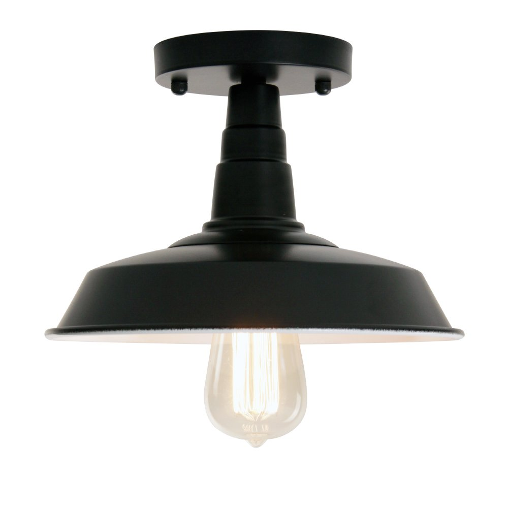 Wereal Flush Ceiling Light Industrial Vintage Style Mounting Lighting Fixture Black Finish, E26 Base Modern Hallway Home Kitchen Lamp