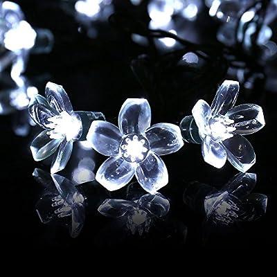 Qedertek Solar Flower String Lights, Cherry Blossom 22ft 50 LED Waterproof Outdoor String Lights for Patio, Lawn, Garden, Holiday and Festivals Decorations (White)