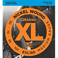 Cuerdas para bajo D'Addario EXL160 Nickel Wound, Mediano, 50-105, Escala larga