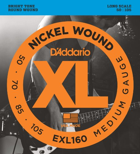 D'Addario EXL160 Nickel Wound Bass Guitar Strings, Medium, 50-105, Long
