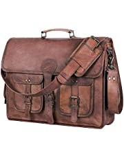Leather Briefcase for Men and Women 18 inch Handmade Leather Messenger Bag for Laptop Best Computer Satchel School Distressed Bag by Komal's Passion Leather (Four Pocket)