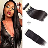 Brazilian Straight Hair 3 Bundles With Lace Closure Free Part 100% Unprocessed Virgin Human Hair Bundles Mixed Size Length Natural Color Hair Extension (16 18 20 + 14) Review