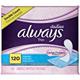 Always Thin Dailies Liners, Unscented, Wrapped, 120 Count