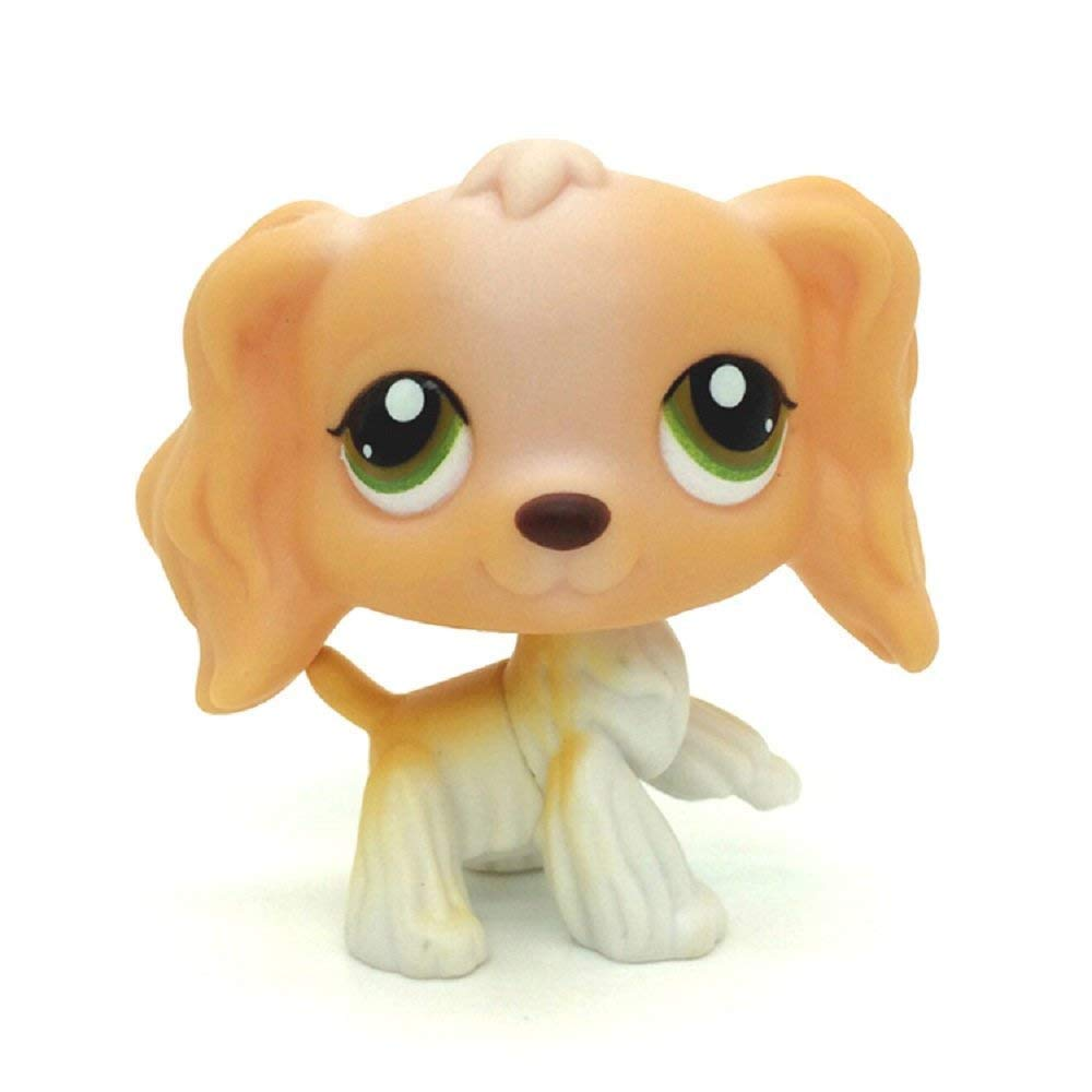#79 Tan White Cocker Spaniel Dog Puppy Animal Figure Toy LPS Small Kids Toy Box Storage Personalised Basket crossed3_Pet toy store