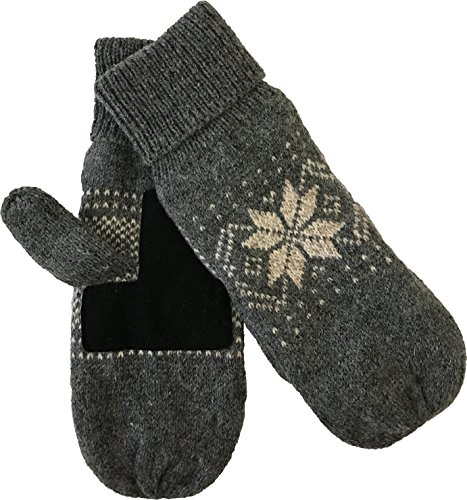 (Mens Ragg Wool Mitten With Suede Gripper Palm & Fleece Lined Insulation (Charcoal))