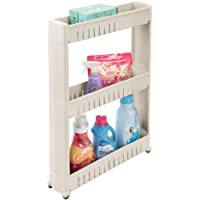 mDesign Portable Slim Plastic Rolling Laundry Utility Cart, Storage Organizer Trolley - Easy-Glide Wheels and 3 Heavy-Duty Shelves, for Laundry, Utility Room, Kitchen or Pantry Storage - Taupe/Tan
