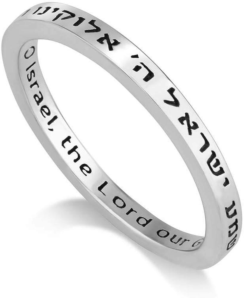 Anillos Escucha Oh Israel En Inglés Y Hebreo Para Hombre O Mujer Marina Jewelry Anillo De Plata De Ley 925 Grabado Joyería Brandknewmag Com