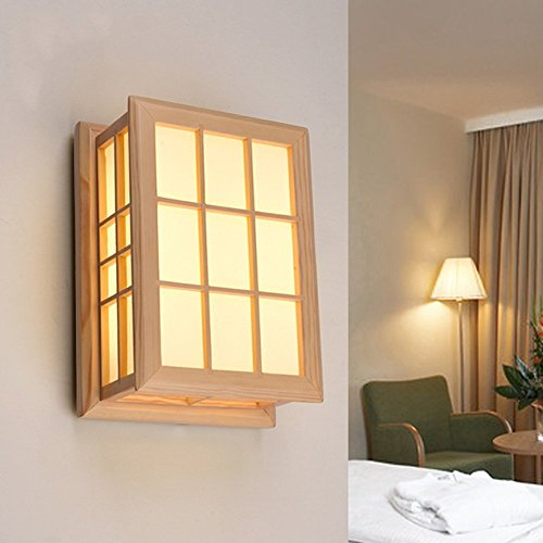 HOMEE Wall lamp- simple modern wood wall lamp living room aisle balcony bedroom bedside wall lamp (light color optional) --wall lighting decorations,Three-color dimming by HOMEE
