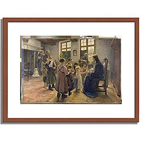 フリッツフォンウーデ Uhde, Fritz von「Let the Children Come to Me. 1884」インテリア アート 絵画 プリント 額装作品 フレーム:木製(茶) サイズ:M (306mm X 397mm) B00LRGW3EW 2.M (306mm X 397mm)|1.フレーム:木製(茶) 1.フレーム:木製(茶) 2.M (306mm X 397mm)