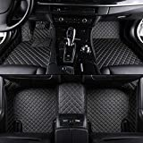 Custom Car Floor Mat Front & Rear Liner 8 Colors with Gold Lines for Mitsubishi Lancer(Black)
