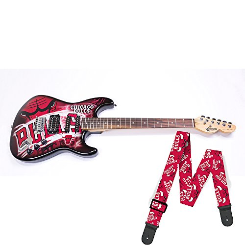 Chicago Bulls NBA ''Northender'' Electric Guitar with Strap by Woodrow