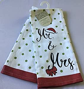 Cynthia Rowley Table Linens Amazon.com: Cynthia Rowley Set of 2 Kitchen Towels - Mr. And Mrs.with ...