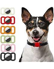 Ztowoto Siliconen hoes compatibel met Airtag hondenhalsband, Airtag beschermhoes voor honden kattenhalsband 2 stuks (fluorescerende kleur/rood/oranje/matcha groen/roze/zwart)