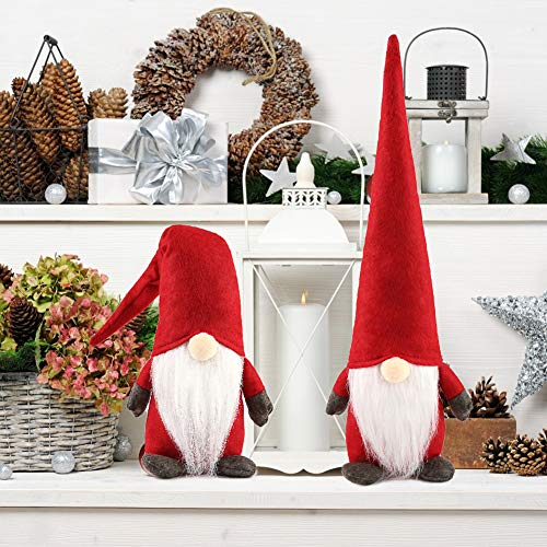 1Tomte Swedish Plush Santa Gnome, Handmade Scandinavian Tomte Santa Scandinavian Gnome for Christmas Santa Decoration Table Decor