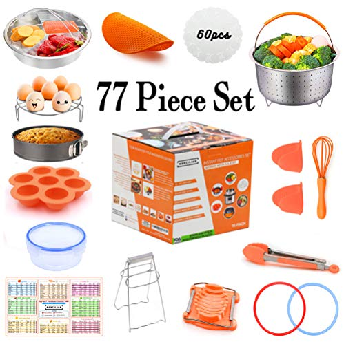 Instant Pot Accessories Set 77 Pcs | Electric Pressure Cooker 6qt & 8qt | Sealing Ring Gasket, Non Stick Springform Pan, Egg Mould Bites, Stainless Steel Steamer Basket, Kitchen Tongs, Magnet And More