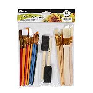 CONDA 4336960682 Paint Brush Set Starter Kit Piece Sizes A10844, 25 pcs, Assorted