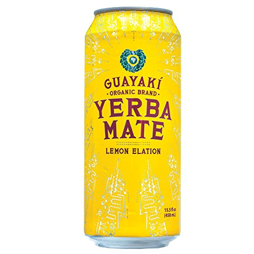 Guayaki Organic Yerba Mate Lemon Elation, Lemon Yerba Mate Drink, Naturally Caffeinated, Made with Organic, Fair Trade and Non-GMO Ingredients, 16 Fl Oz, Pack of 12
