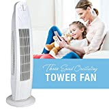 Oscillating 29 Inch 3 Speed Tower Fan for Home or Office, Quiet and Powerful