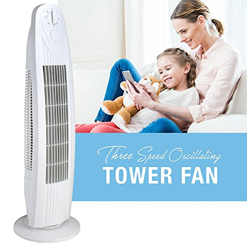 Oscillating 29-in. 3 Speed Tower Fan for Home or Office, Quiet and Powerful