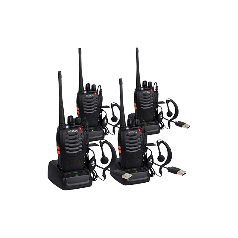 eSynic 4 Pack Rechargeable Walkie Talkie