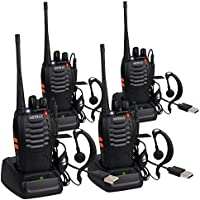ESYNIC 4 Pack Rechargeable Walkie Talkies Long Range Two Way Radio UHF 400-470MHz Walky Talky With Earpieces Flashlight 16 Channel FM Handheld Transceiver Support USB Cable Charging