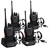 ESYNIC 4 pcs Rechargeable Walkie Talkies Long Range Two Way Radio Walky Talky Earpieces Flashlight 16 Channel FM Handheld Transceiver Support USB Cable Charging