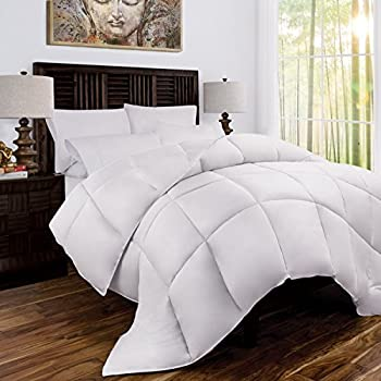 Zen Bamboo Luxury Goose Down Alternative Comforter - All Season Hotel Quality Hypoallergenic Duvet Insert with Cooling Bamboo Blend Fabric - King and Cal King - White
