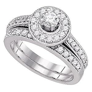 14k White Gold Round Diamond Solitaire Halo Engagement Ring & Wedding Band Set Bridal Set Milgrain 1 ctw Size 6.5
