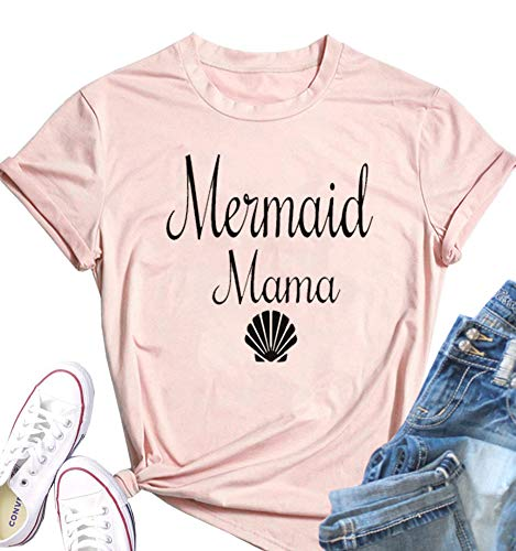 MOMOER Mama Shirt for Women Mermaid Mama Short Sleeve T-Shirt Cute Shell Graphic Print Casual Funny Mom Tops Tees -